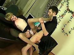 Kinky sissy guy obtaining hither to frantic ass-fucking thrill in the office