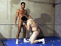 This scorching hot gay interracial dealings takes place in a gym, where two guys are wrestling each other. Ricco Black and his horny Latino buddy were smothering each other's hard and sweaty bodies and soon they got frisky and started making at large and stroking d