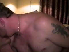 Bald skinny gay and his chub lover burdening someone night fucking