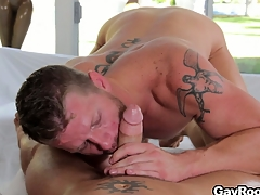 Shane Stand stock-still got his cock sucked and is accessible to saddle his fuck buddy