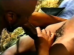 Black, gay threesome outside with some hard pest pang action