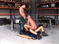 Chris Hacker, Mickey A with an increment of Zsolt XL make a fine gay threesome with the garage