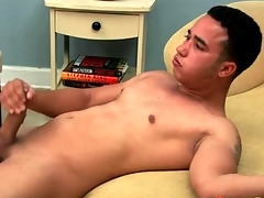 Cute guy jerks off his chunky uncut cock