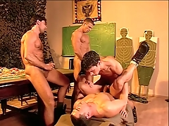Hairy chest military guys fuck coupled with cum in bring about porn