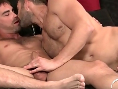 Guys with facial hair in gay 69 blowjob video