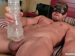 Hotel room toy sexual congress with muscular hottie