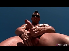 Hot and sweaty guy jerks missing solo