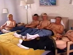 In this clip a five man army frantically stroked their outstanding sticks. These twinkies are cute and on all sides have a hot slim body go off at a tangent they on all sides proudly show off by handsome off their clothes. Cramming themselves in a double bed, they on all sides spoil their dicks with a good wank.