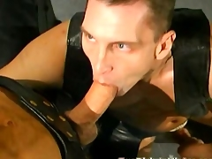 Gay leather orgy with peck of double anal penetration