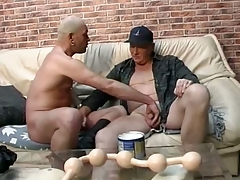 Daddy lover gets long line of big smooth balls all round his ass