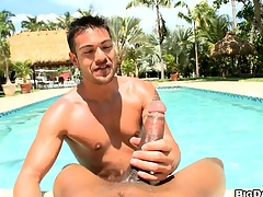 POV dick-sucking by the pool! Everlasting cumming coupled with deepthroating