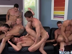 Muscly hunks cummed on and fucked