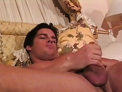 Muscled hunk Joey caresses his fabulous body and sucks his own dick