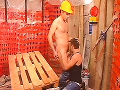 Two insatiable construction workers taking care of their anal desires