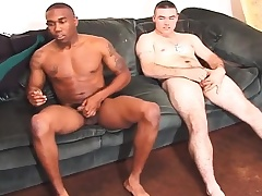 Two gorgeous studs get together on the couch and stroke their cocks