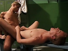 Lustful young cocksucker gets his ass drilled hard in the locker room
