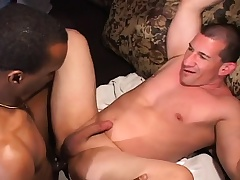 Muscled white man has a black guy sucking his rod and banging his ass