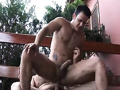 Hairy gay man seduces a young stud to suck his dick and fuck his ass
